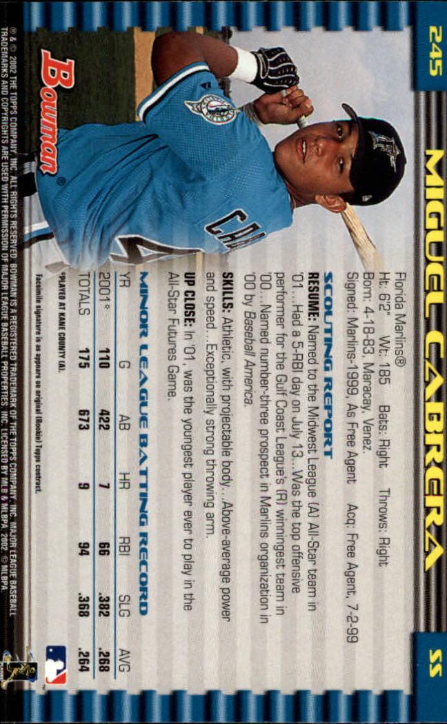 2002 Bowman #245 Miguel Cabrera back image