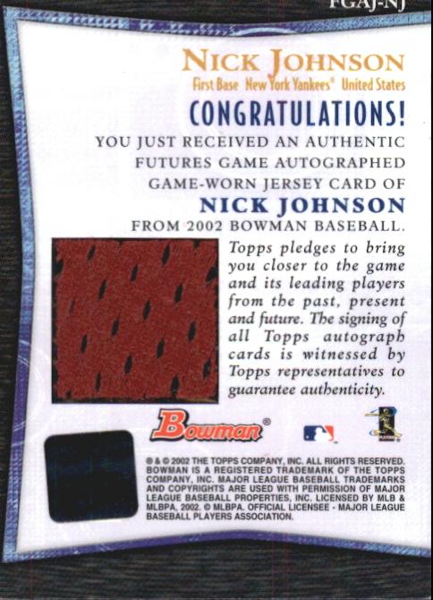 2002 Bowman Futures Game Autograph Relics #NJ Nick Johnson Jsy C back image
