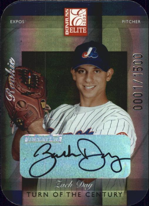 2002 Donruss Elite Turn of the Century Autographs #186 Zach Day/100*
