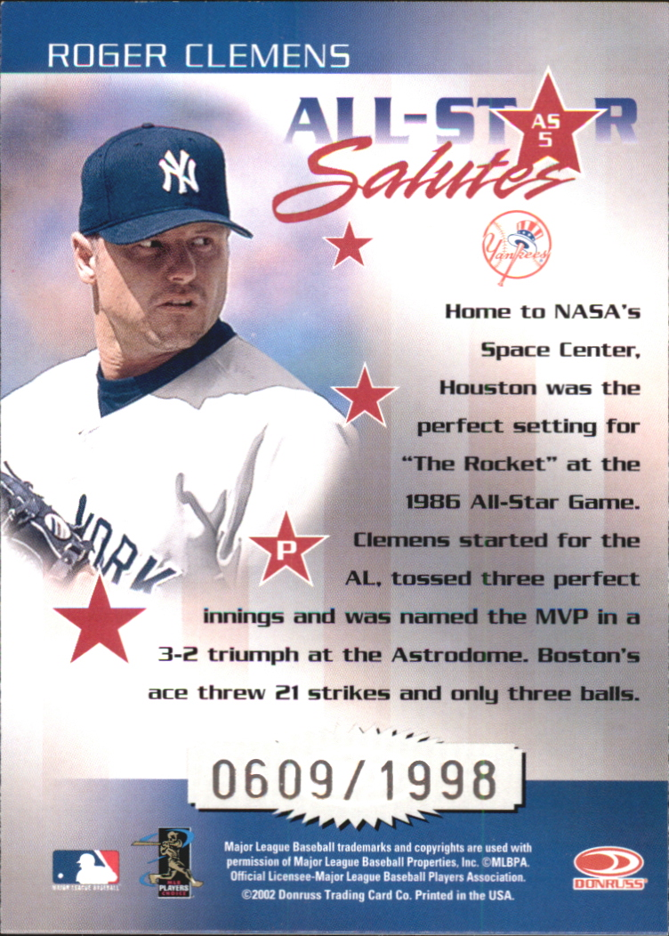 2002 Donruss Elite All-Star Salutes #5 Roger Clemens/1998 back image