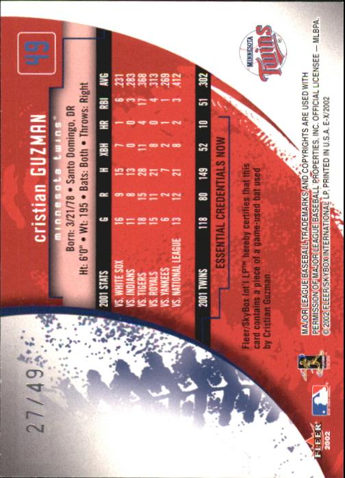 2002 E-X Essential Credentials Now #49 Cristian Guzman Bat/49 back image