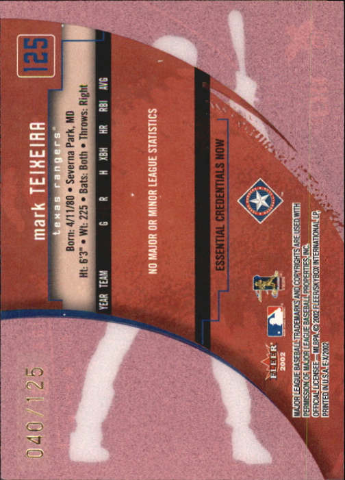 2002 E-X Essential Credentials Now #125 Mark Teixeira NT/125 back image