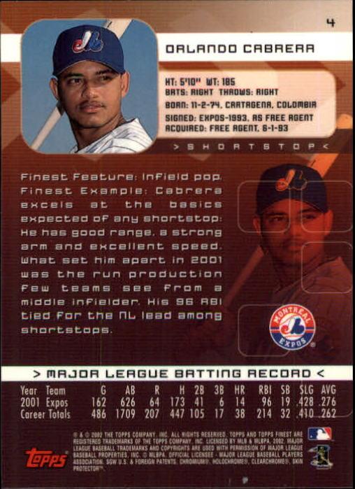 2002 Finest #4 Orlando Cabrera back image