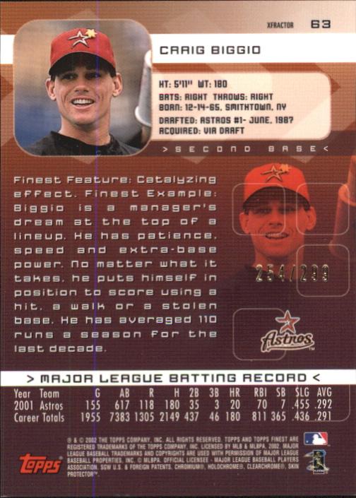 2002 Finest X-Fractors #63 Craig Biggio back image
