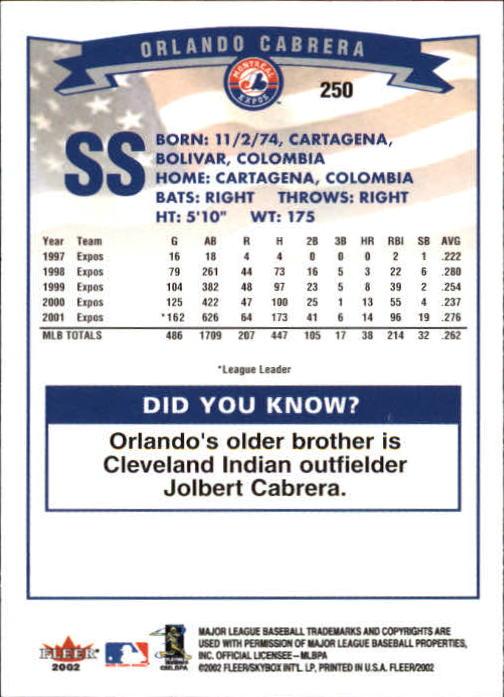 2002 Fleer #250 Orlando Cabrera back image