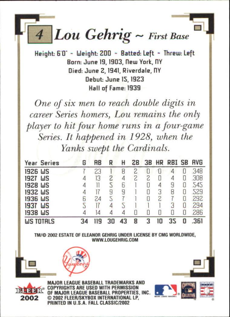 2002 Fleer Fall Classics #4 Lou Gehrig back image