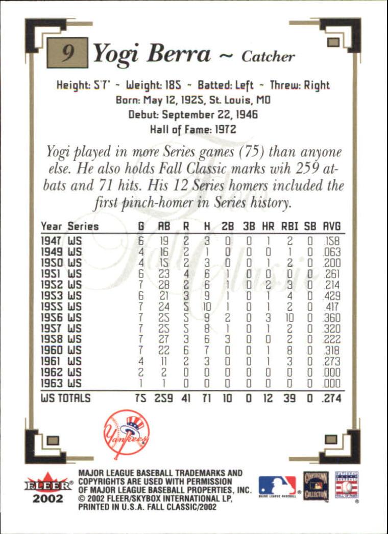 2002 Fleer Fall Classics #9 Yogi Berra back image