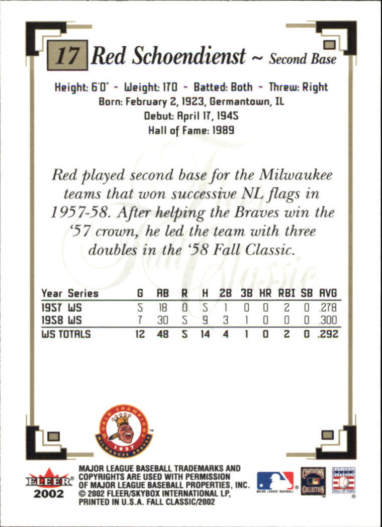 2002 Fleer Fall Classics #17A Red Schoendienst Braves back image