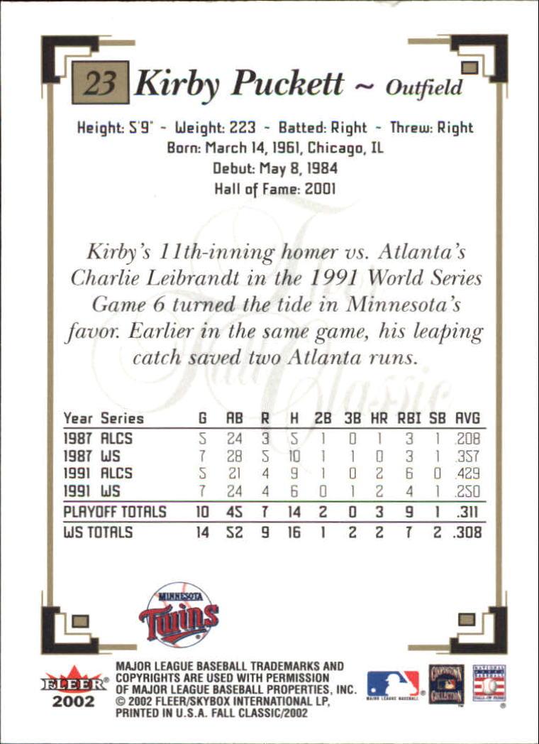 2002 Fleer Fall Classics #23 Kirby Puckett back image