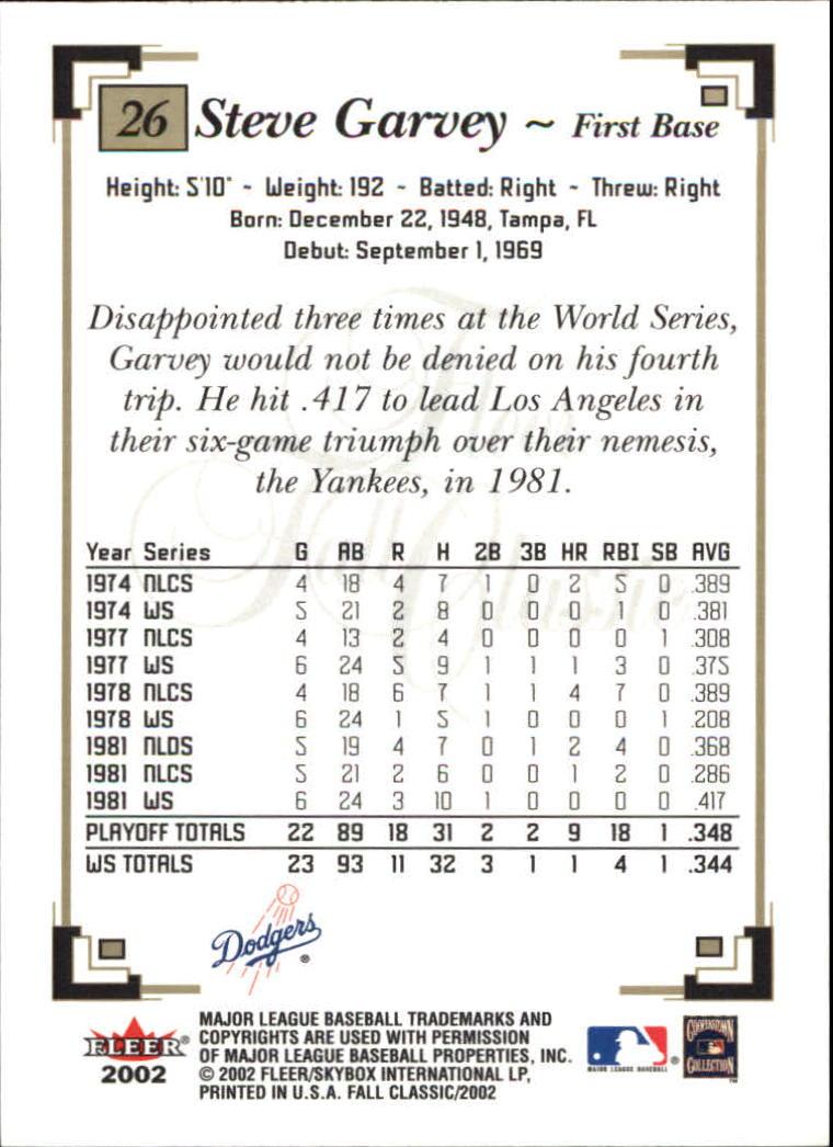 2002 Fleer Fall Classics #26A Steve Garvey Dodgers back image