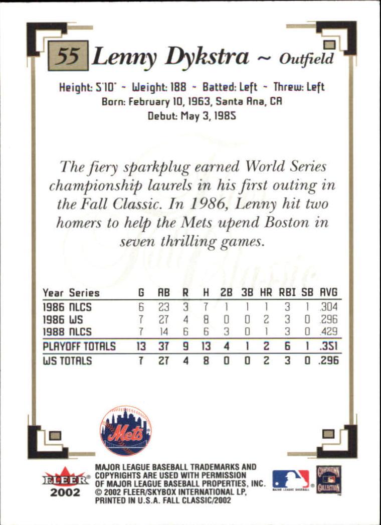 2002 Fleer Fall Classics #55A Lenny Dykstra Mets back image