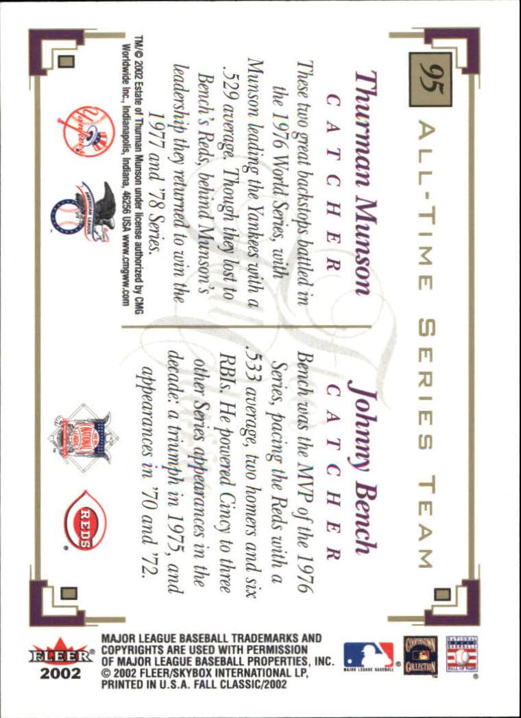 2002 Fleer Fall Classics #95 T.Munson/J.Bench back image