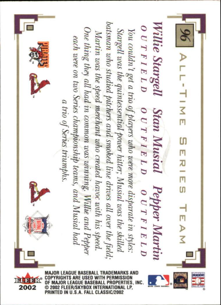 2002 Fleer Fall Classics #96 Stargell/Musial/Martin back image