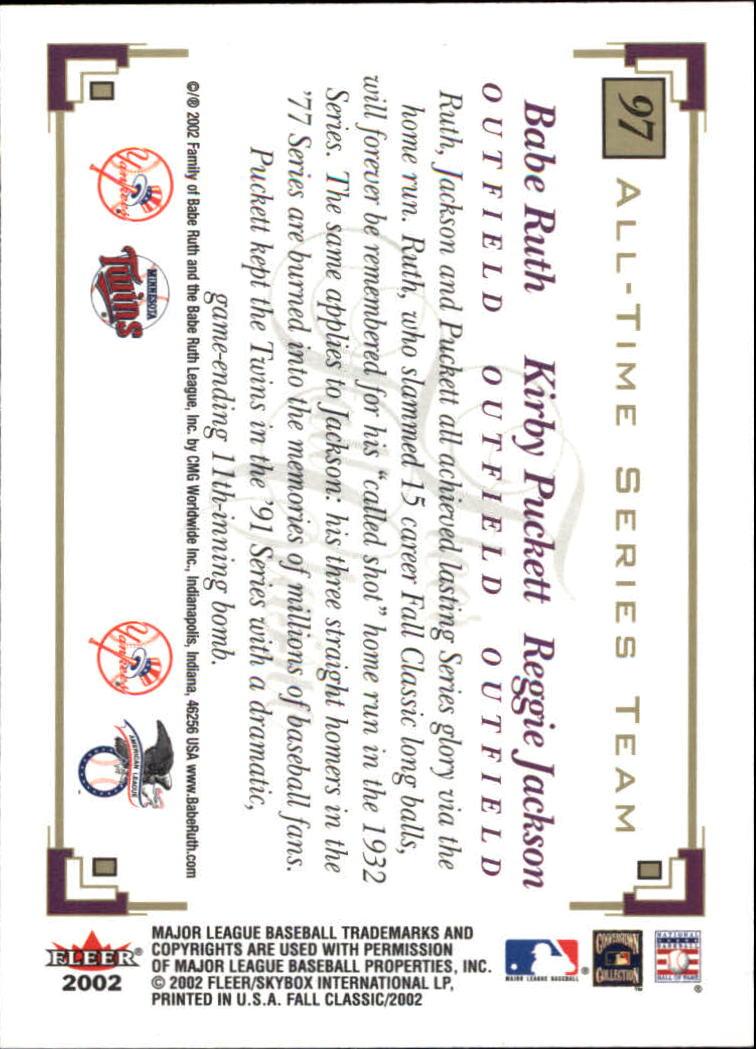 2002 Fleer Fall Classics #97 Ruth/Puckett/Reggie back image