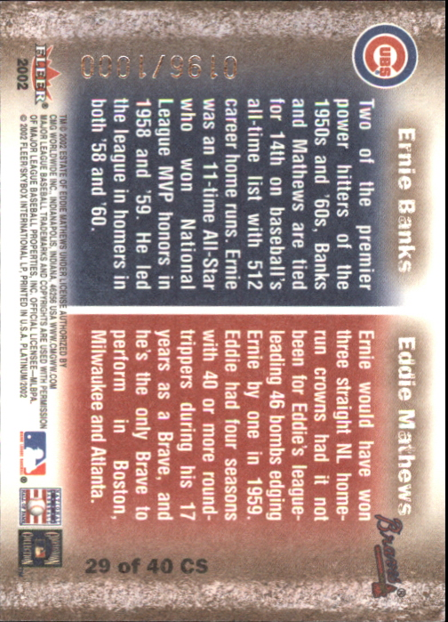 2002 Fleer Platinum Cornerstones Numbered #29 E.Mathews/E.Banks back image