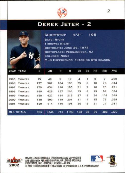 2002 Fleer Premium #2 Derek Jeter back image