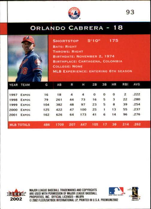 2002 Fleer Premium #93 Orlando Cabrera back image