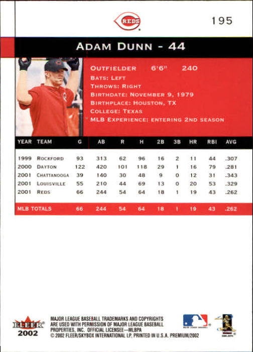 2002 Fleer Premium #195 Adam Dunn back image