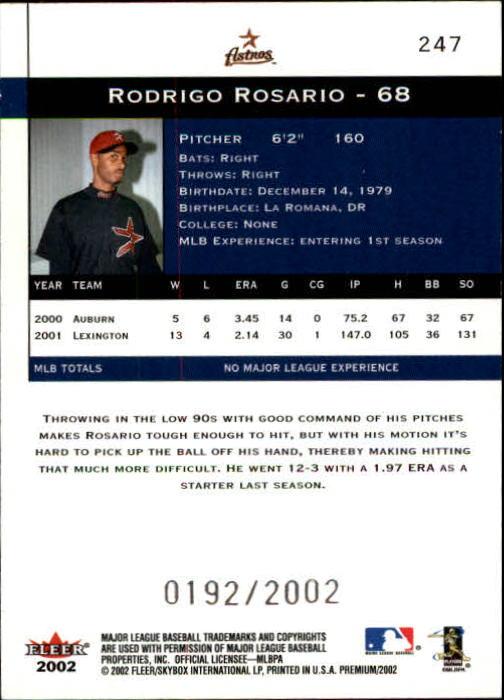 2002 Fleer Premium #247 Rodrigo Rosario UPD RC back image