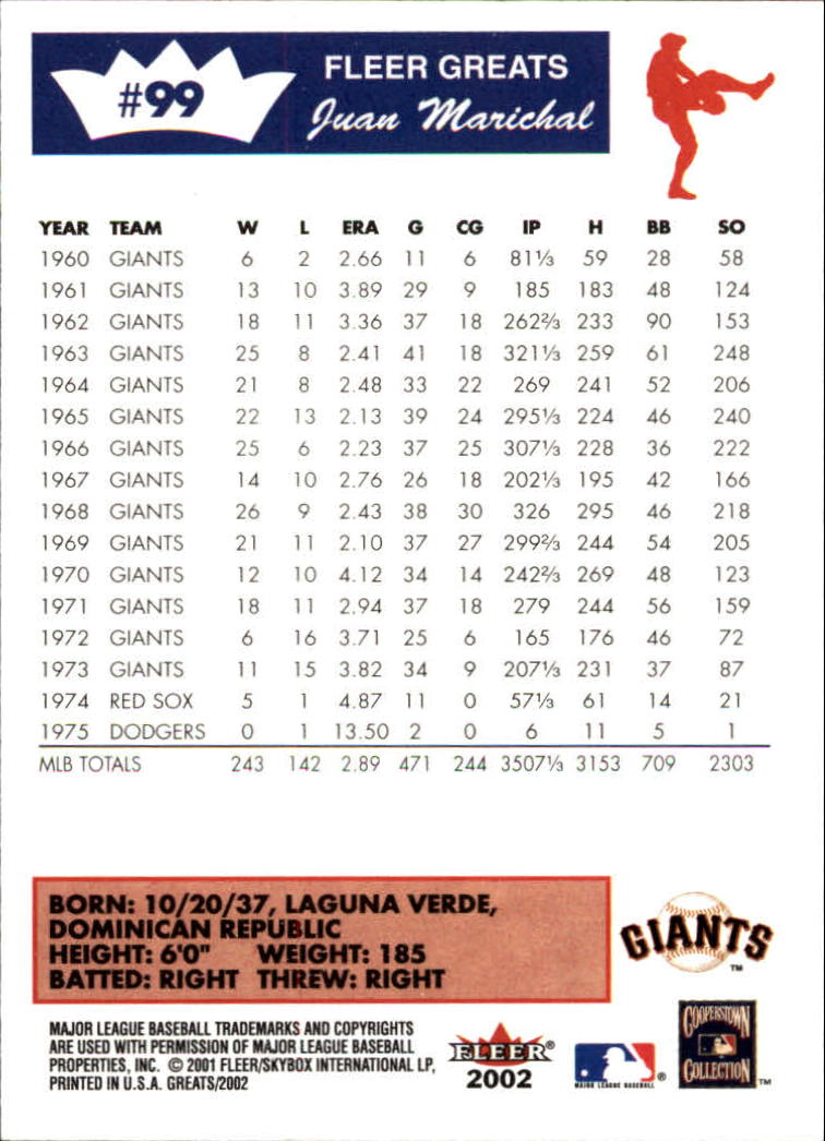 2002 Greats of the Game #99 Juan Marichal back image