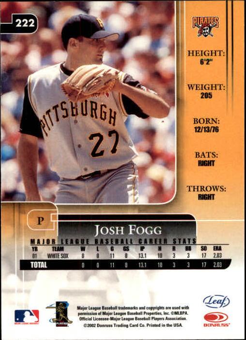2002 Leaf Rookies and Stars #222 Josh Fogg Pirates back image