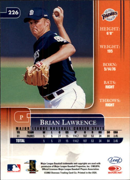 2002 Leaf Rookies and Stars #226 Brian Lawrence back image