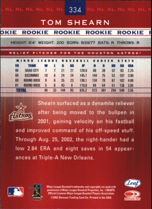 2002 Leaf Rookies and Stars Great American Signings #334 Tom Shearn/175* back image