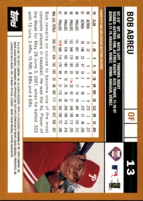 2002 Topps #13 Bob Abreu back image