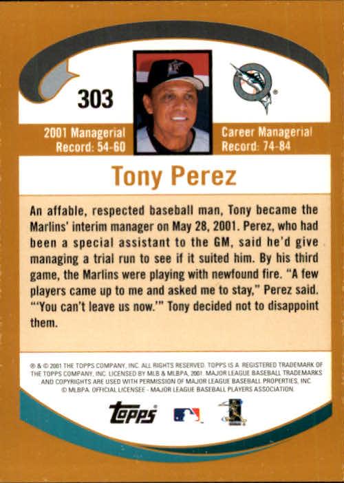 2002 Topps #303 Tony Perez MG back image