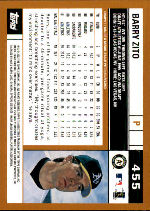 2002 Topps #455 Barry Zito back image