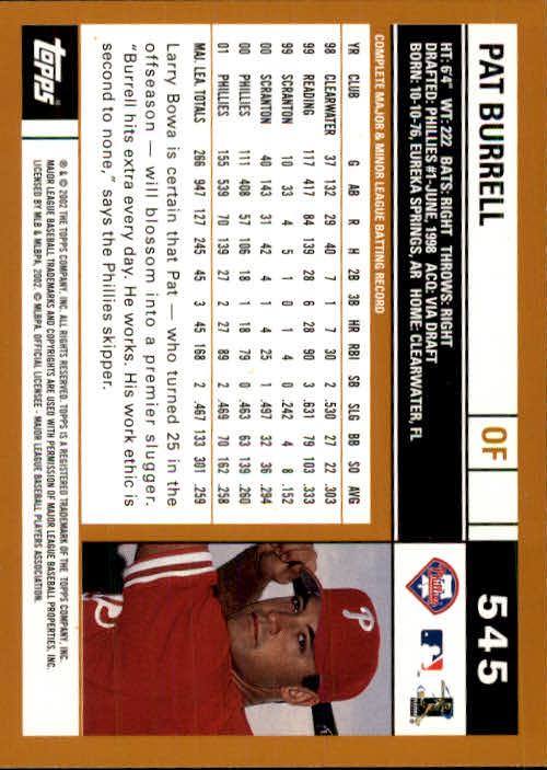 2002 Topps #545 Pat Burrell back image