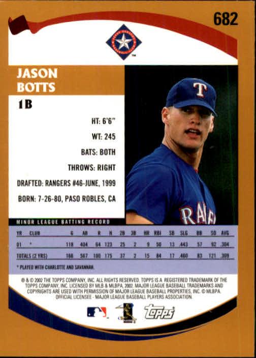 2002 Topps #682 Jason Botts PROS RC back image