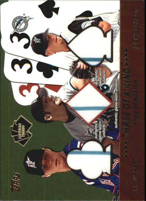 2002 Topps 5-Card Stud Three of a Kind Relics #5TBDB A.J. Burnett Uni/Ryan Dempster Uni/Josh Beckett Uni A