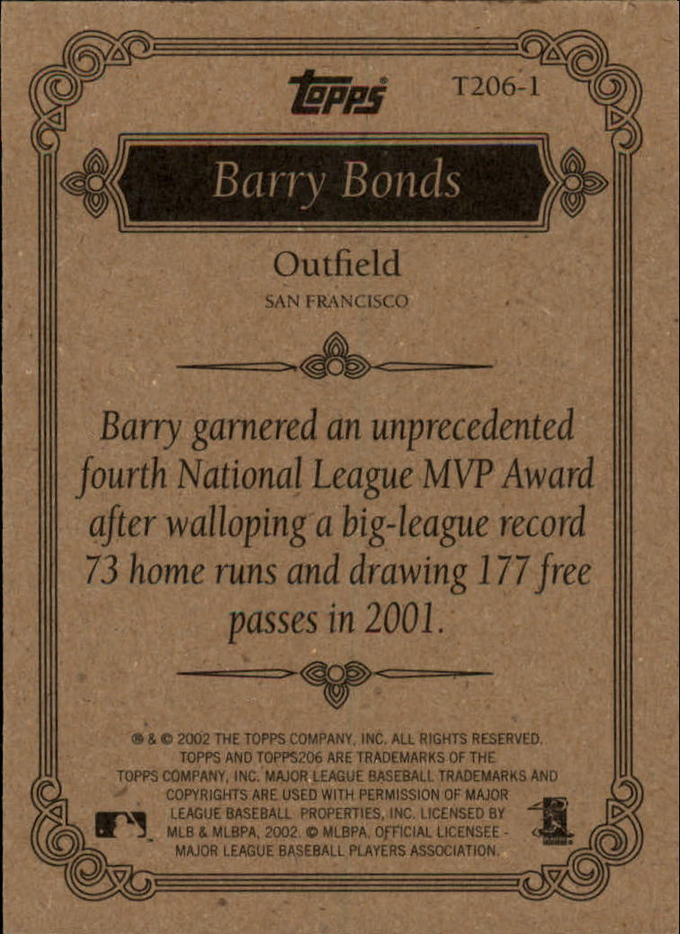 2002 Topps 206 Team 206 Series 1 #T2061 Barry Bonds back image