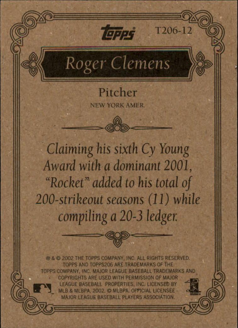 2002 Topps 206 Team 206 Series 1 #T20612 Roger Clemens back image