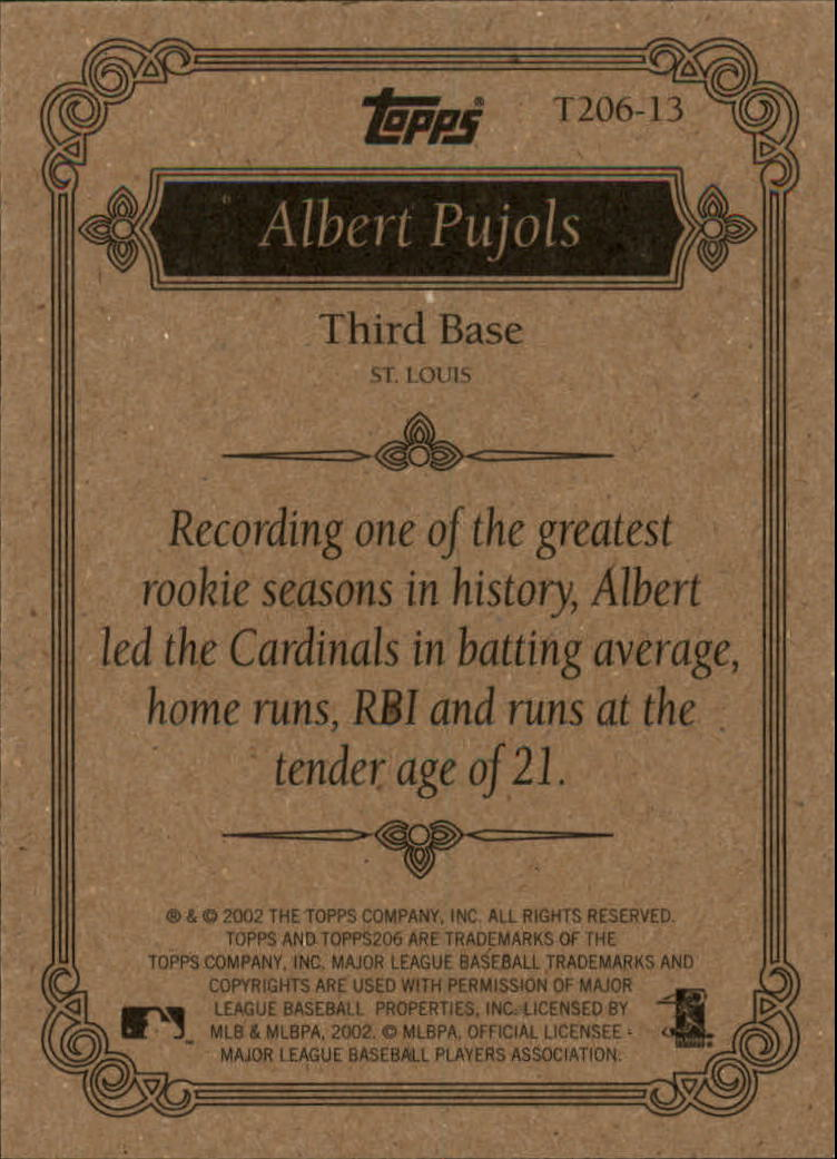 2002 Topps 206 Team 206 Series 1 #T20613 Albert Pujols back image