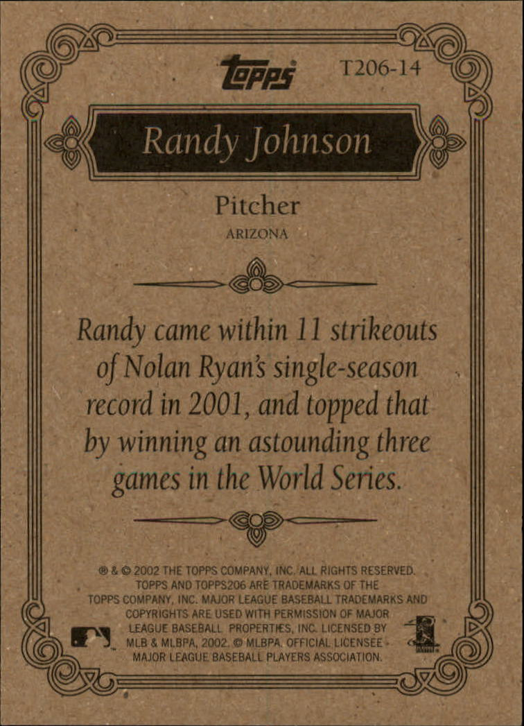 2002 Topps 206 Team 206 Series 1 #T20614 Randy Johnson back image