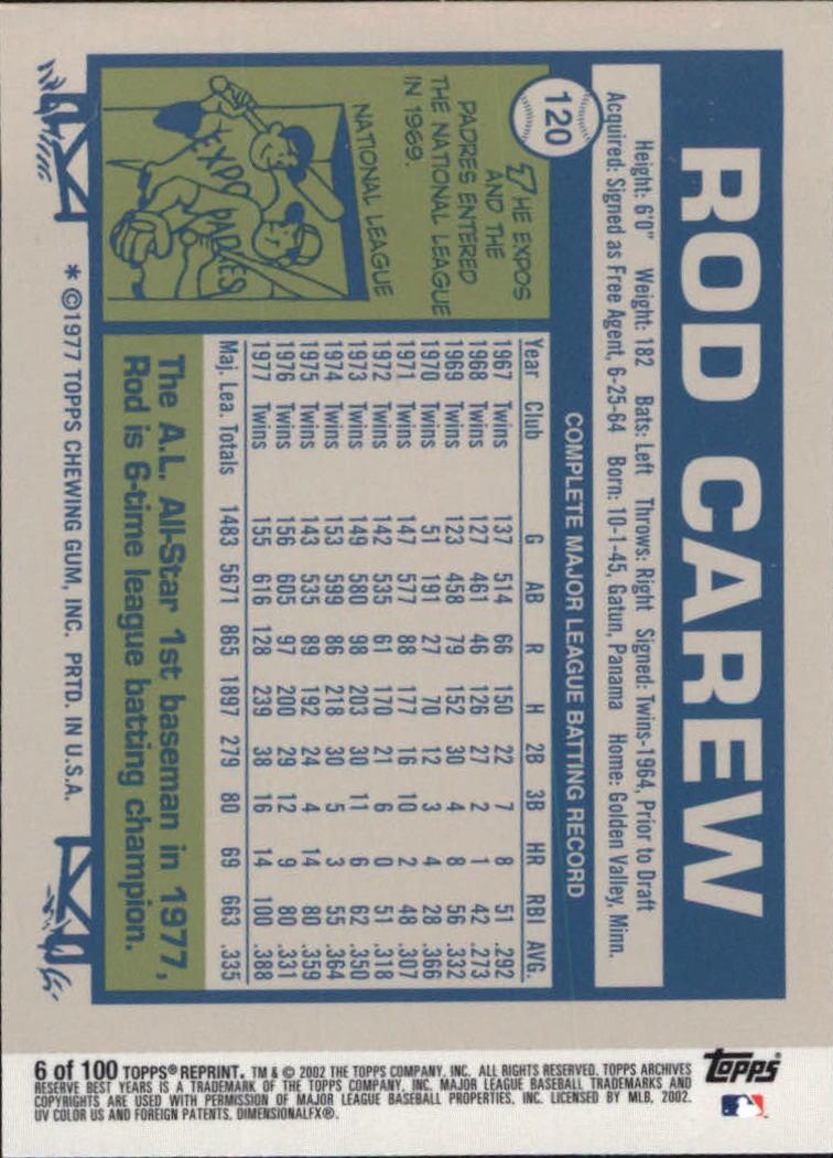 2002 Topps Archives Reserve #6 Rod Carew 77 back image