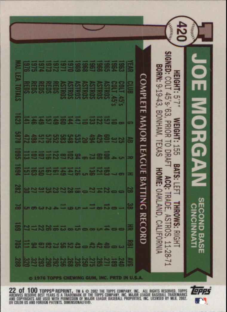 2002 Topps Archives Reserve #22 Joe Morgan 76 back image