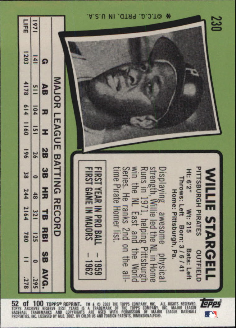 2002 Topps Archives Reserve #52 Willie Stargell 71 back image