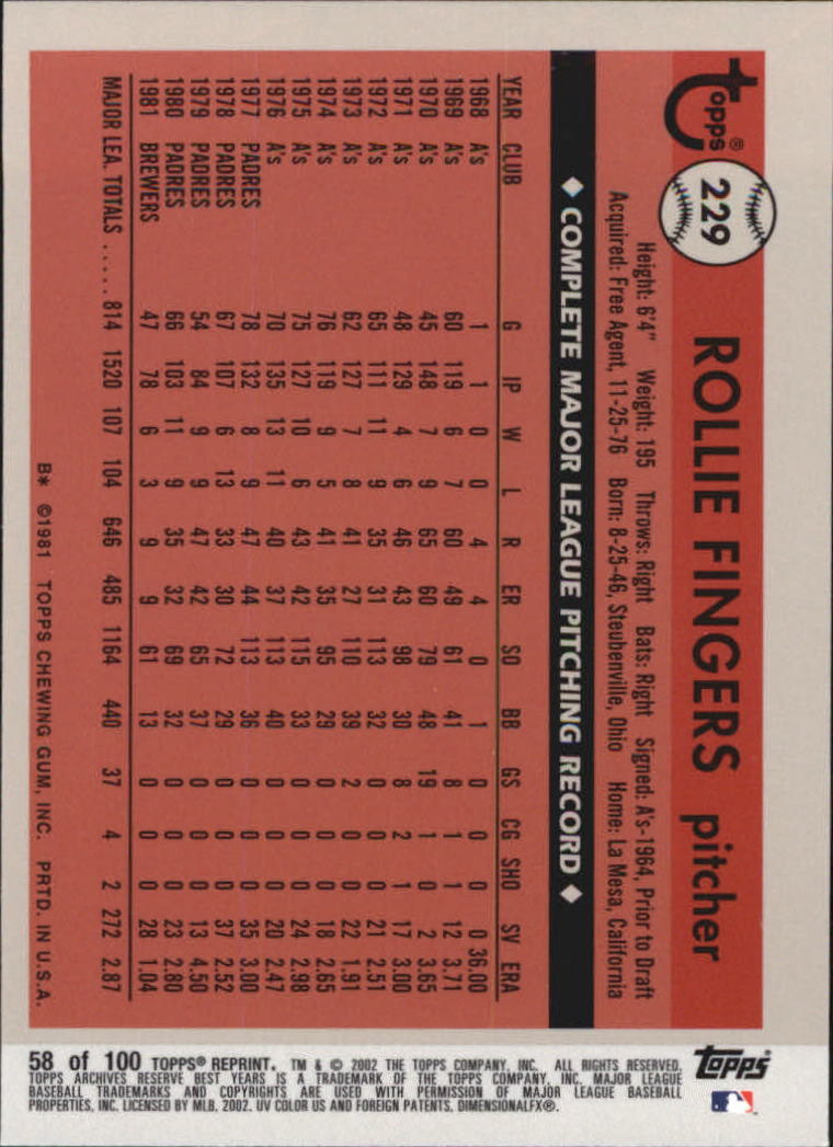 2002 Topps Archives Reserve #58 Rollie Fingers 81 back image
