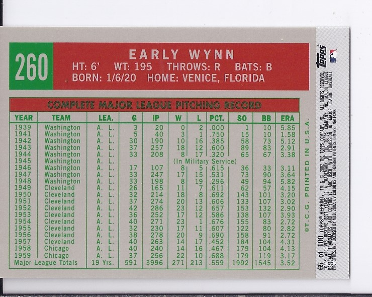 2002 Topps Archives Reserve #65 Early Wynn 59 back image