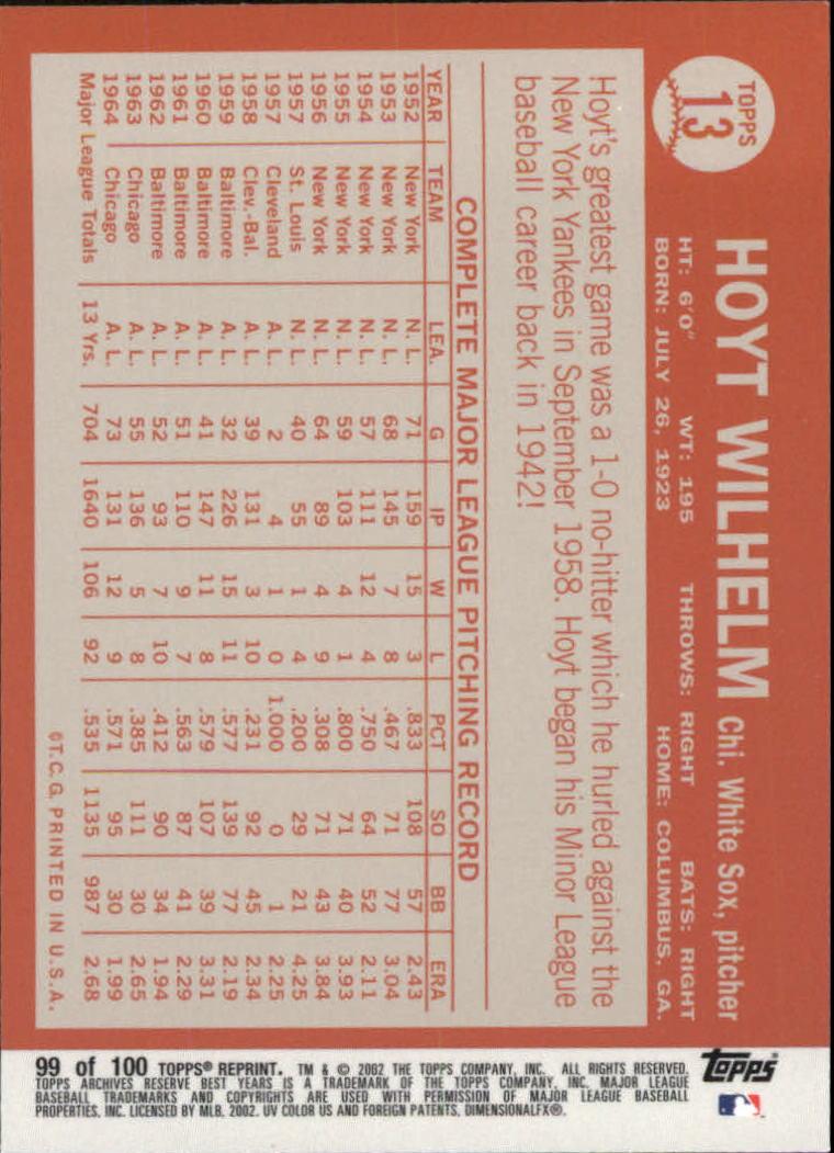 2002 Topps Archives Reserve #99 Hoyt Wilhelm 64 back image