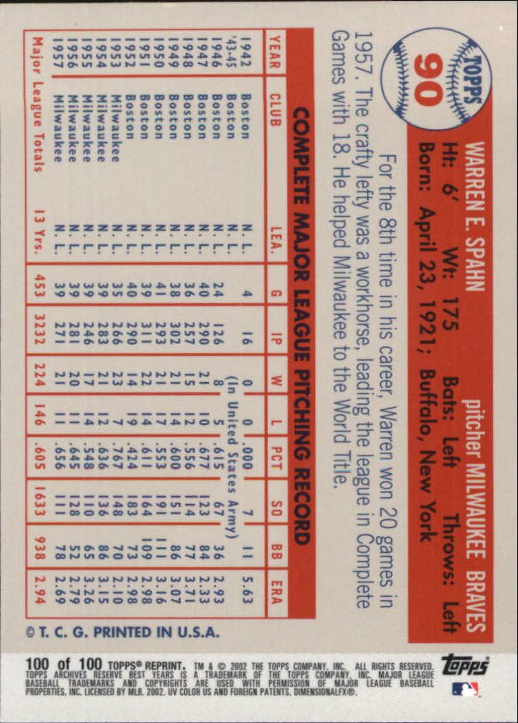 2002 Topps Archives Reserve #100 Warren Spahn 57 back image