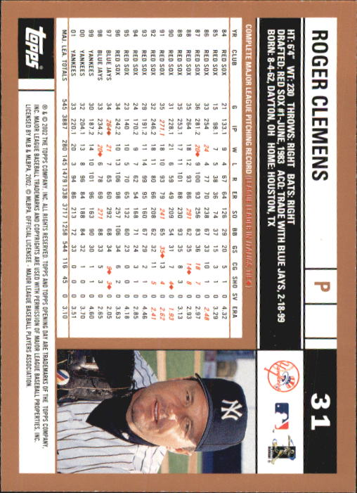 2002 Topps Opening Day #31 Roger Clemens back image