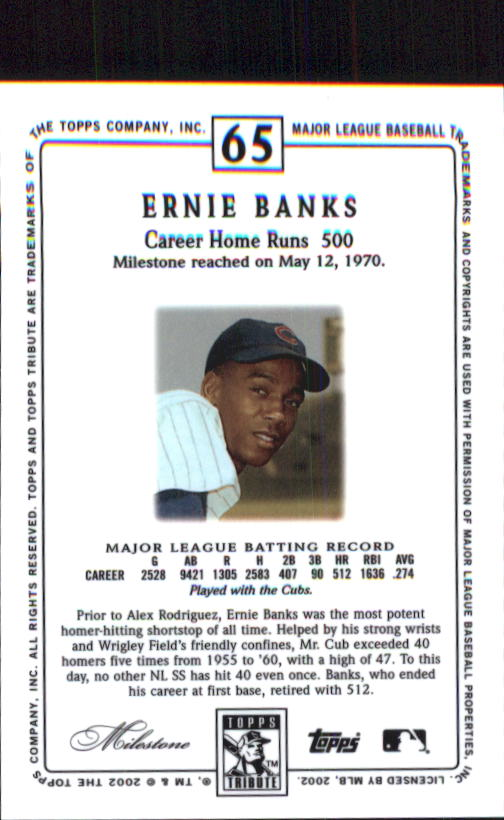 2002 Topps Tribute #65 Ernie Banks back image