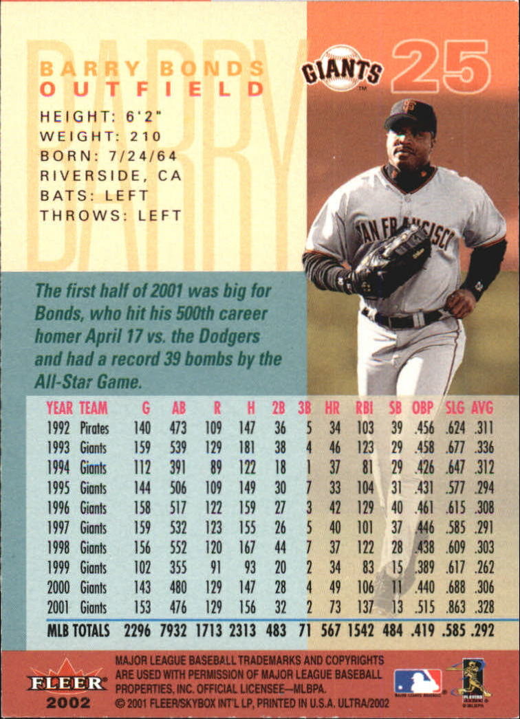 2002 Ultra #25 Barry Bonds back image