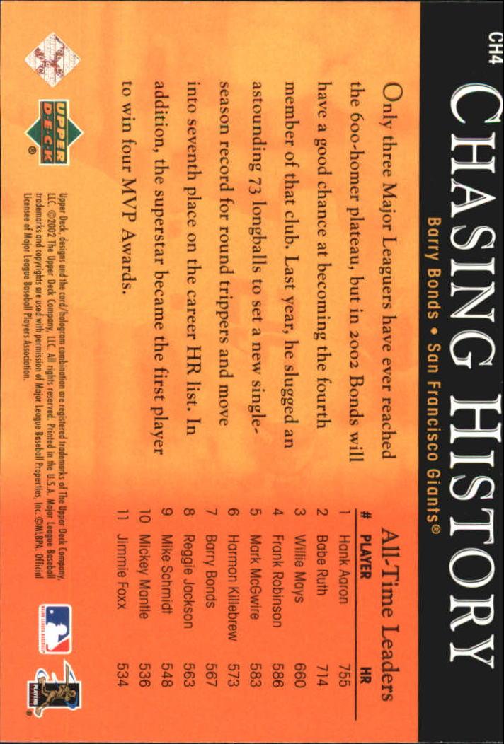 2002 Upper Deck Chasing History #CH4 Barry Bonds back image