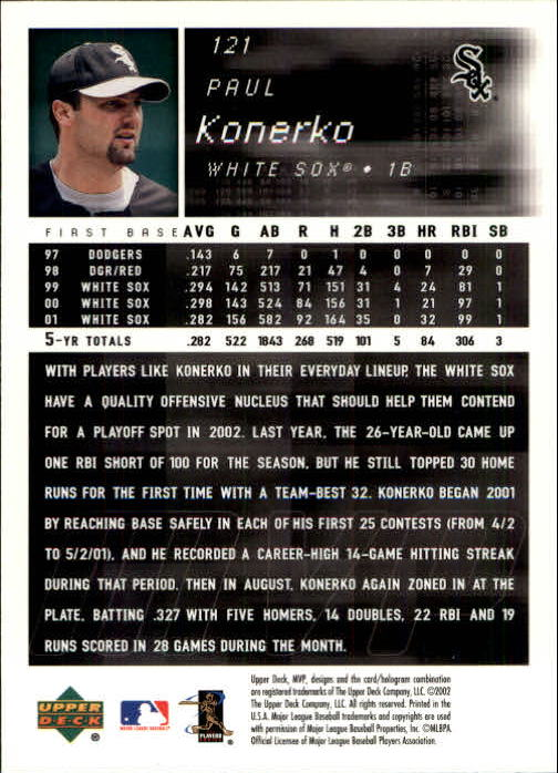 2002 Upper Deck MVP #121 Paul Konerko back image