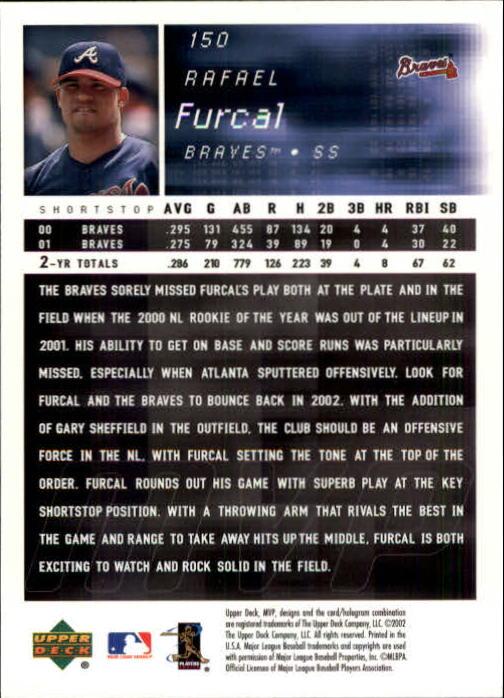2002 Upper Deck MVP #150 Rafael Furcal back image